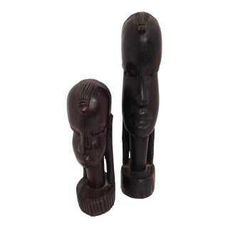 African Male & Female Carvings - A Pair
