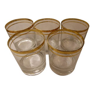 Mid-Century Modern Gold Banded Lowball Glasses - Set of 5