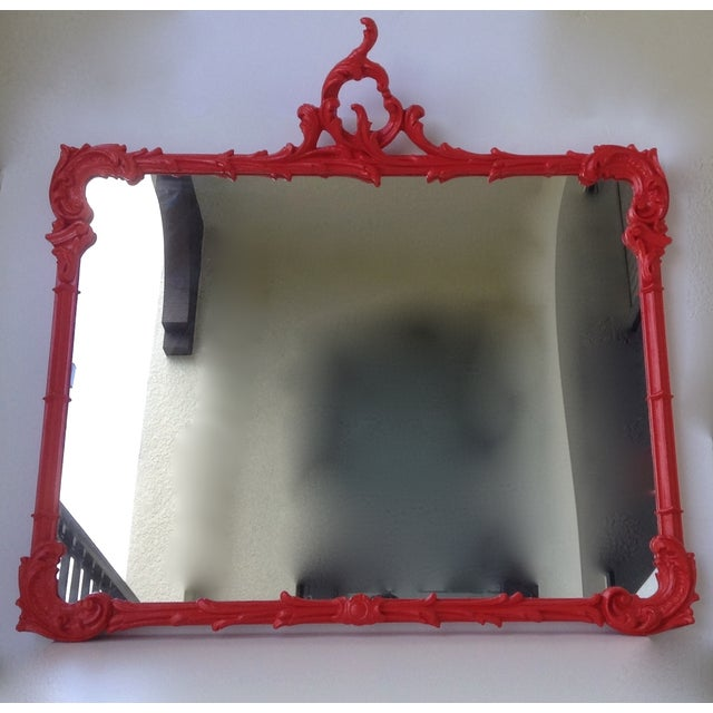 Antique French Red Lacquered Mirror - Image 11 of 11
