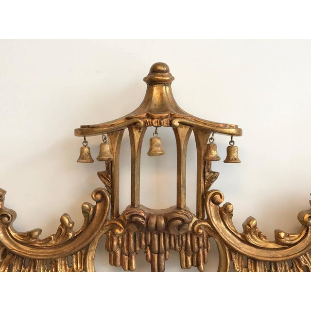 Image of Chinoiserie Temple Bells Carved Wood Mirror