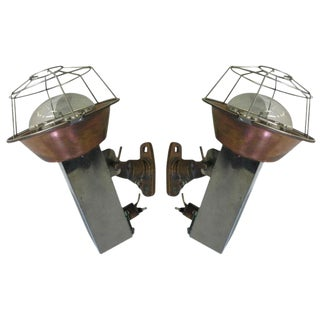 Pair of French Adjustable Marine Industrial Sconces/Fixtures