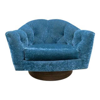 Milo Baughman Mid-Century Crushed Velvet Swivel Chair