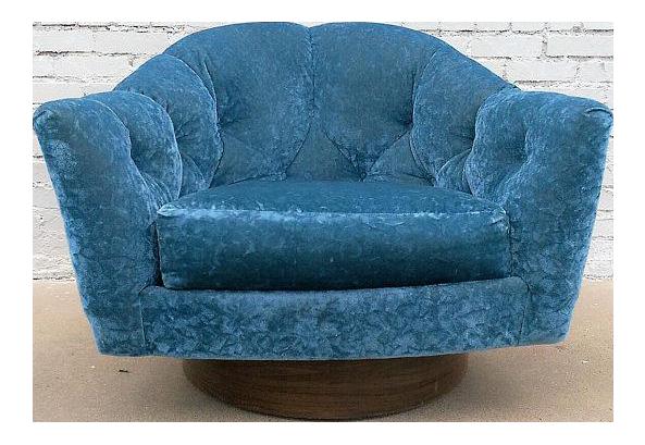 Milo Baughman Mid Century Crushed Velvet Swivel Chair