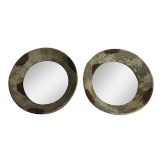 Round Metal Weathered Metal Mirrors - A Pair