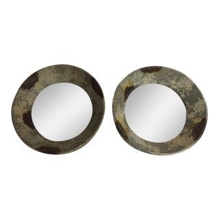 Round Metal Weathered Metal Mirrors - A Pair