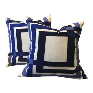 Color Form Blue & Cream Pillows - A Pair