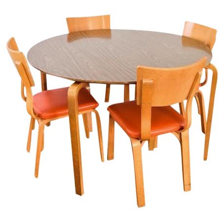 Mid-Century Thonet Bentwood Table & Chairs - Image 1 of 10
