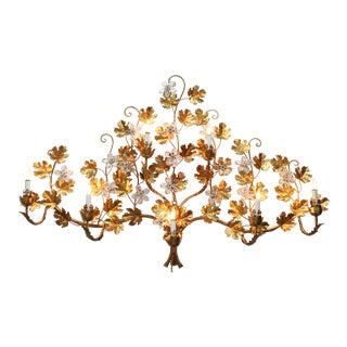 Vintage Hollywood Regency Style Floral Wall Lamp