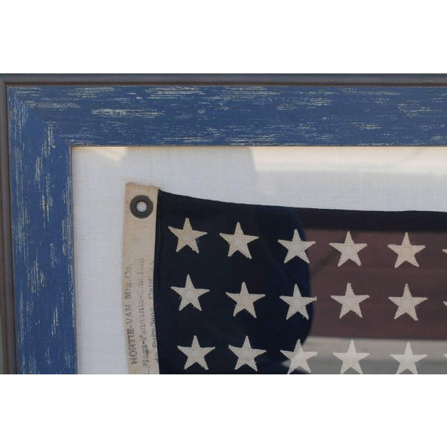 Early 20th Century 48 Star Ships Framed Flag - Image 2 of 4