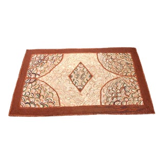 1930s Hand-Hooked Clam Shell Pattern Rug from New England