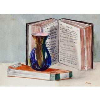 1930s Vase & Books Still Life Painting