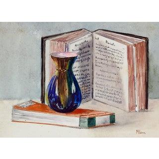 1930s Vase & Books Still Life Painting