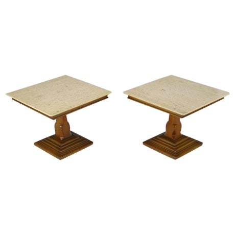 Pair Spanish Revival Maple & Portugese Travertine Side Tables - Image 1 of 7