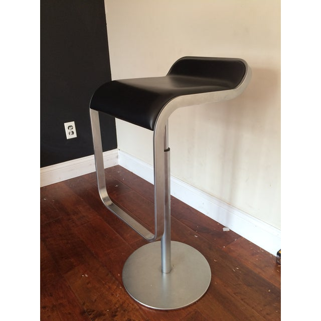 la palma lem piston black leather chrome stool chairish. Black Bedroom Furniture Sets. Home Design Ideas