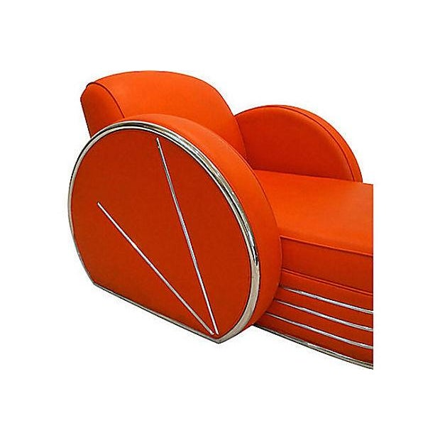 Image of Vintage Art Deco Red & Chrome Chaise Lounge Chair