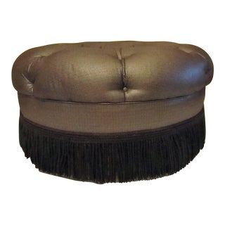 Gray & Black Tufted Ottoman