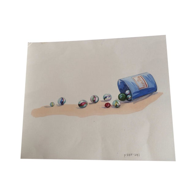 Watercolor Marbles Advertising Lithograph - Image 1 of 5