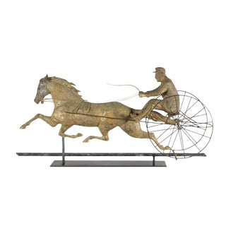 THE HORSE GEORGE M. PATCHEN WITH A SULKEY AND DRIVER, ONE OF THE LARGEST AND MOST IMPRESSIVE AMONG THIS FORM OF WEATHERVANE, UNIDENTIFIED MAKER