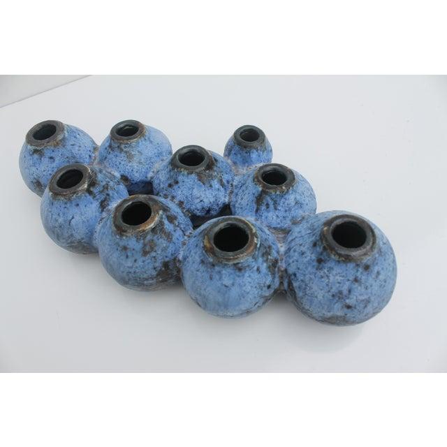 Mid-Century Studio Pottery Blue Fat Lava Vase - Image 8 of 8