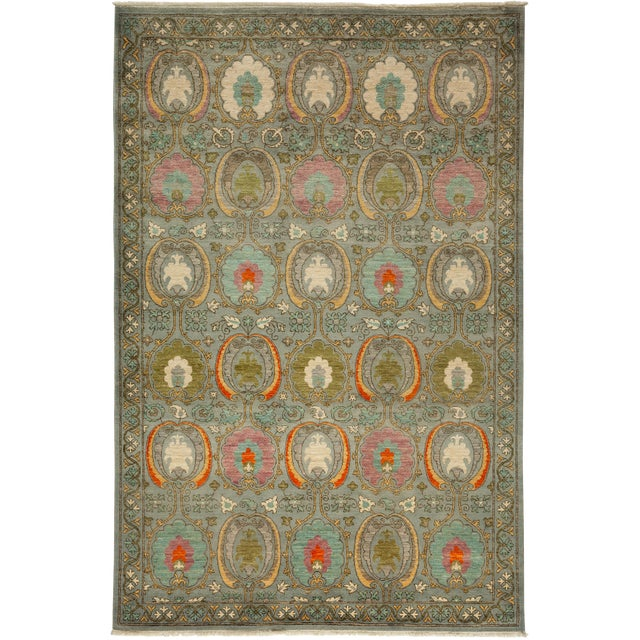 """Image of New Hand-Knotted Suzani Green Rug - 6'1"""" X 9'1"""""""