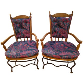 Drexel Heritage Wrought Iron Base Pecan Armchairs - a Pair