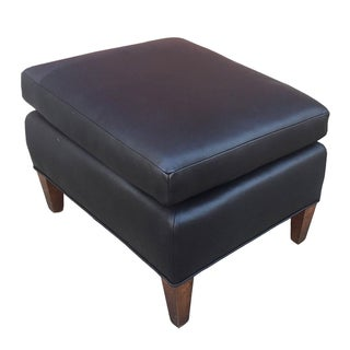 Vintage Black Leather Ottoman