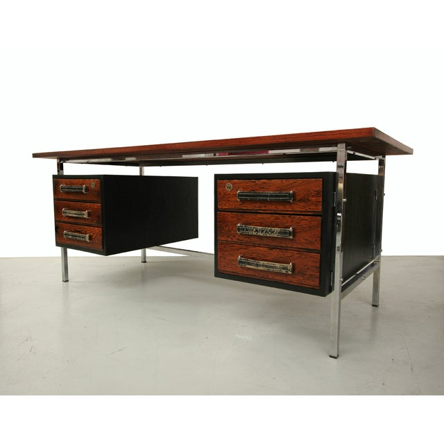 Mid-Century Floating Rosewood & Chrome Desk - Image 2 of 7