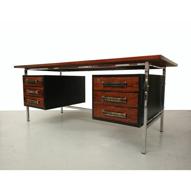 Image of Mid-Century Floating Rosewood & Chrome Desk