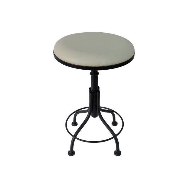 Round Leather Stool with Metal Legs - Image 1 of 7