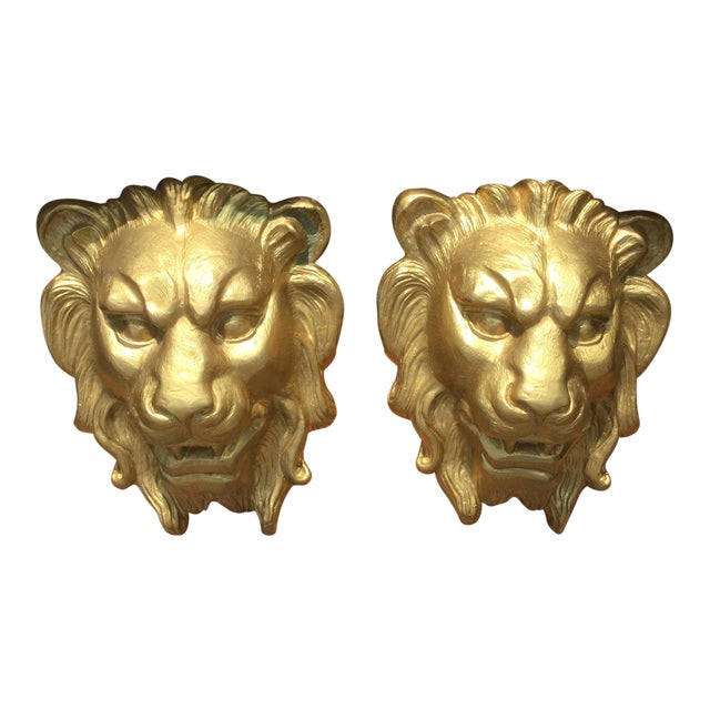 Majestic Golden Lion Wall Shelfs - a Pair - Image 1 of 10