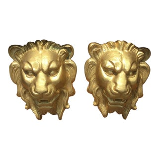 Majestic Golden Lion Wall Shelfs - a Pair