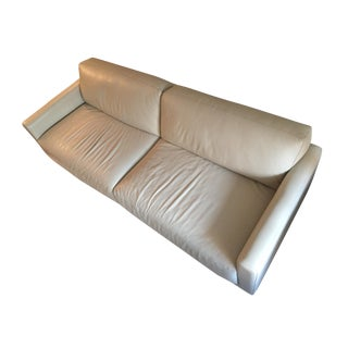 Contemporary Cream Leather Sofa