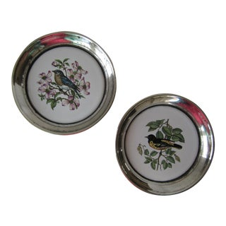 Vintage Silver-Plate Bird Coasters - A Pair
