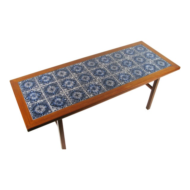 Scandinavian Teak Coffee Table: Danish Modern Teak Coffee Table With Royal Copenhagen Tile