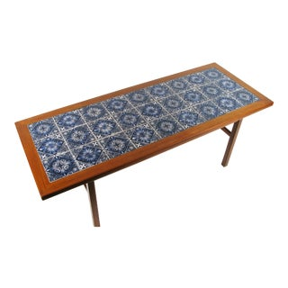 Danish Modern Teak Coffee Table With Royal Copenhagen Tile Inserts
