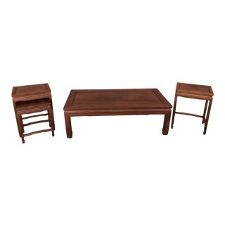 Four Piece Chinese Coffee & Side Table Set With Nesting Peking Style Table