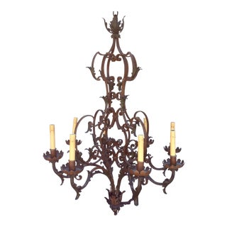 Antique Scrolling Iron Chandelier