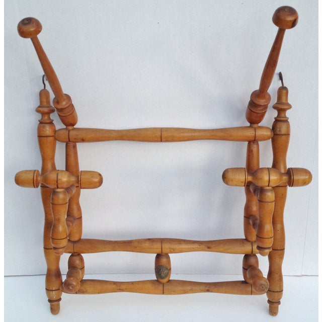 Antique Faux Bamboo Hat and Coat Folding Rack - Image 4 of 7