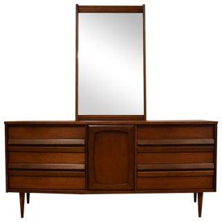 Bassett Mid-Century Walnut Dresser & Mirror