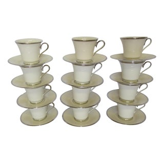 Lenox Solitaire Platinum Band Cups & Saucers - Set of 12