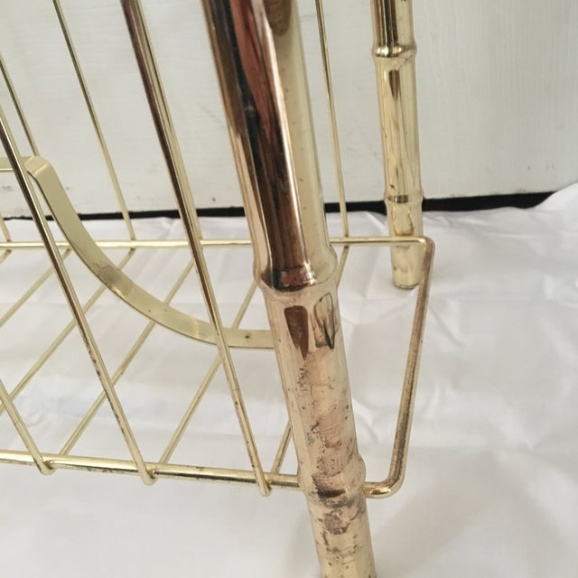 Vintage Brass Plated Faux Bamboo Magazine Holder - Image 8 of 10