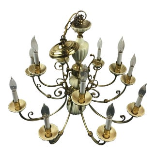 Vintage Antique Brass 10-Light Chandelier