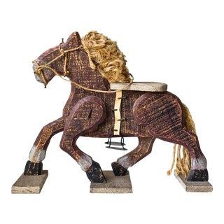 Wood Horse Sculpture Folk Art Horse