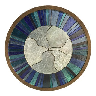Handmade Blue Stained Glass Window