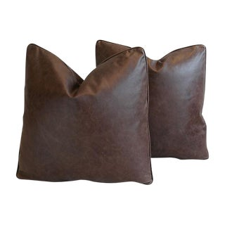 Custom Tailored Italian Tanned Leather Feather/Down Pillows - Pair