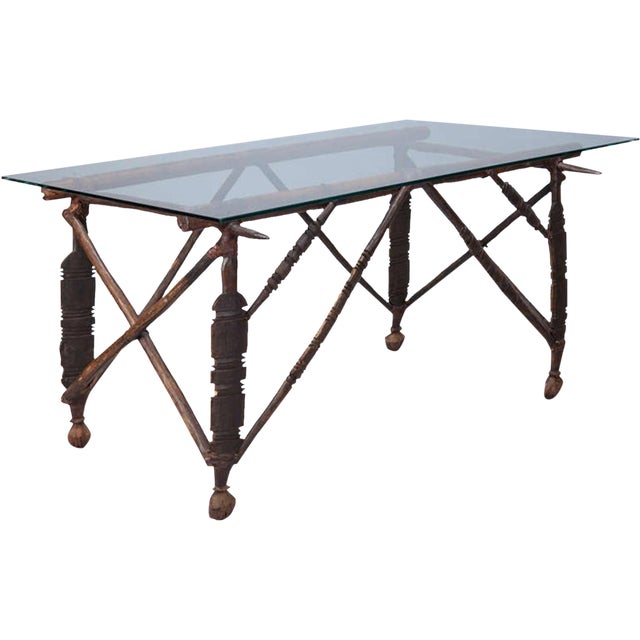 Image of North African Carved Wood Table With Glass Top