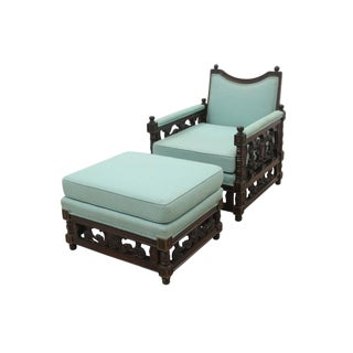 William and Mary Style Lounge Chair and Ottoman Set