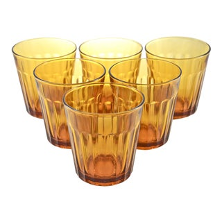 Amber Glass Tumblers - Set of 6