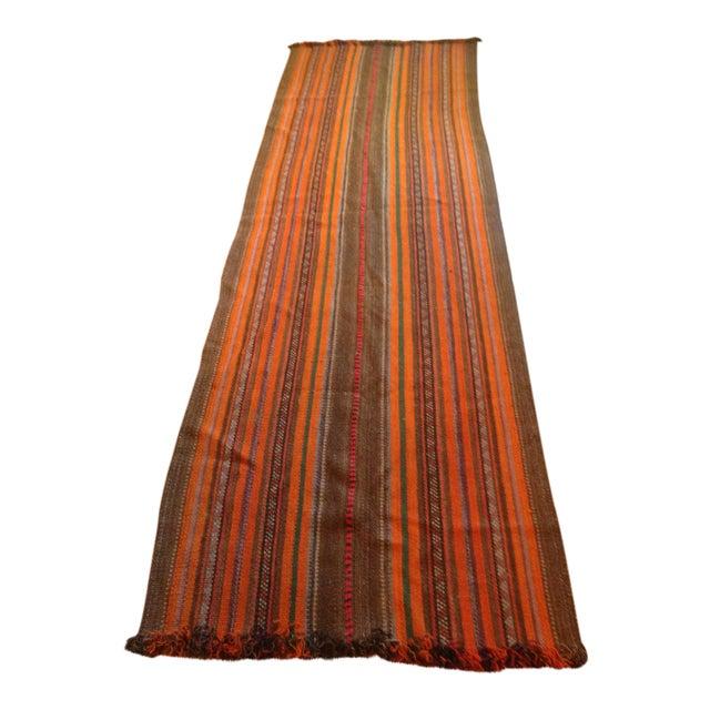 """Yemeni Tribal Wool Flat Weave Rug - 3'5"""" x 10'1"""" - Image 1 of 4"""