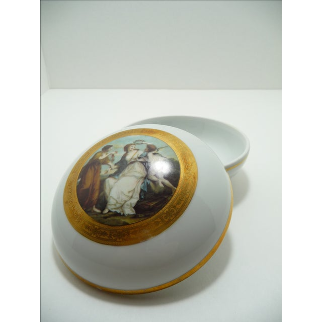 Vintage Round Dome Lid Porcelain Box Bavaria Classical Maidens With Cherub - Image 4 of 8